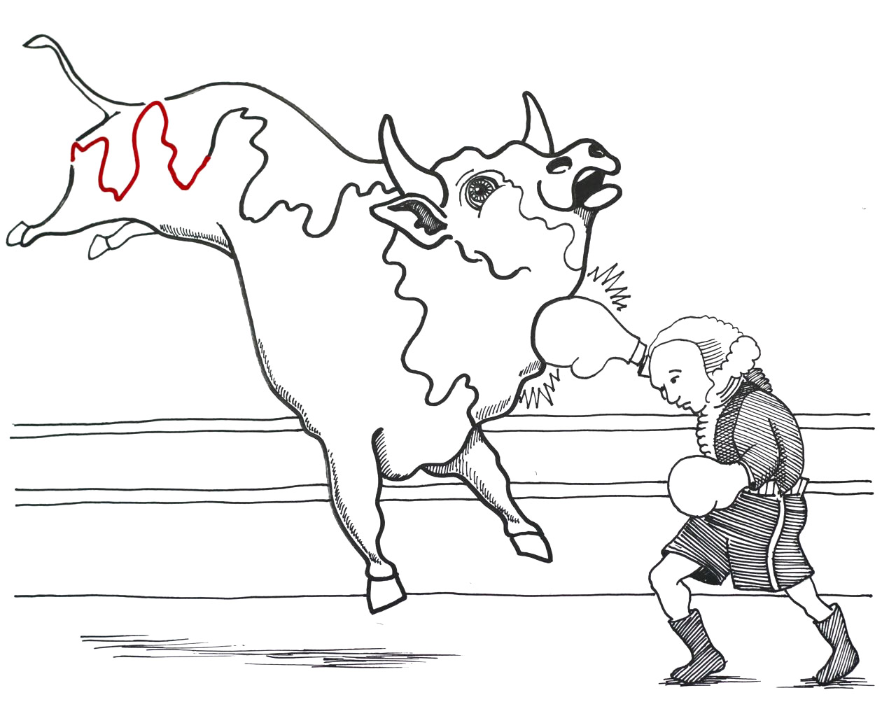 27-George Washington fighting a bull-finish